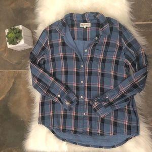 Madewell Blue Plaid Cozy Shirt
